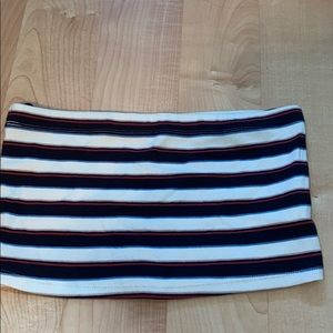 red, white, blue, and light pink striped tube top